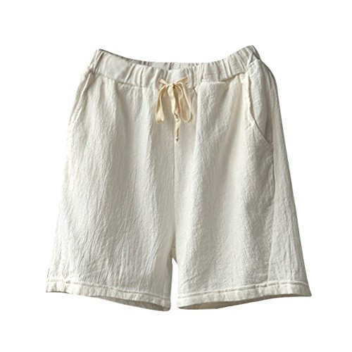 GREFER Shorts Women's Cotton Linen Tie Elastic Waist Short Pants Loose Work Pant with Pockets M-3XL White ()