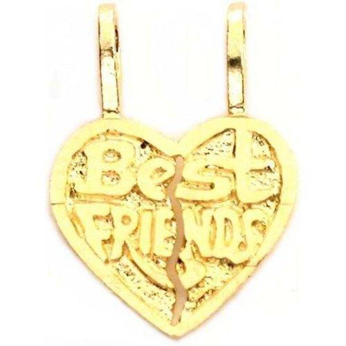 14k Gold Best Friend Heart Charm Breakable 16mm ()
