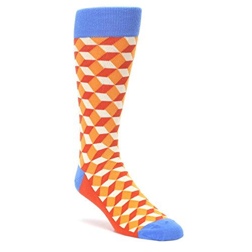 Statement Sockwear Cube Optical Men's Dress Socks (Orange Beeline Optical) (Mens Orange Dress Socks)
