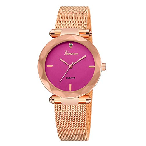 Price comparison product image FRCOLT Women Men Luxury Analog Sports Wristwatch Display Date Men's Quartz Watch Business Watch (One Size,  Hot Pink)