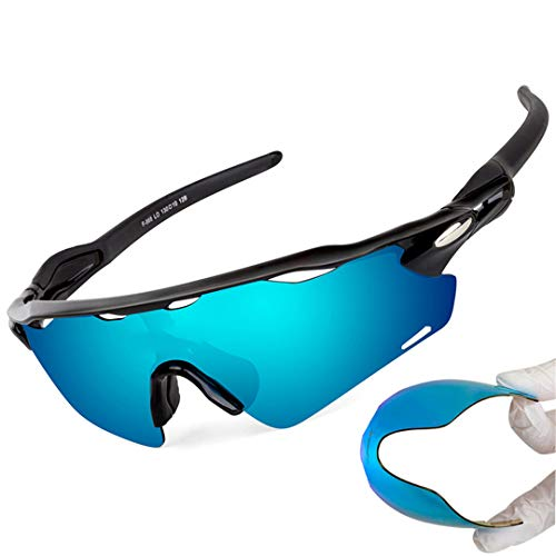 (YHNSHKHKU Protection Cycling Glasses MTB Bicycle Glasses 3 Lens Outdoor Sport Eyewear Sunglasses Riding Motorcycle Bike Sun Glasses B868I1)