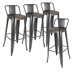 H JINHUI Lot de 4 Tabouret de Bar Metal,Tabouret Haut Industriel 76cm de Hauteur Assise avec Dossier et siège en Bois…
