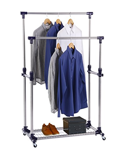 Finnhomy Double Rails Adjustable Free Standing Rolling Garment Rack Stainless Steel Clothing Portable Indoor Balcony Hanging Drying Stand Mobile Rack for Clothes Outdoor Sale Display with Caster Wheel (Stands Outdoor Display)