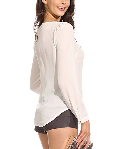 Blanc LaoZan Fermeture Shirt Longues T clair Chiffon Manches Pullover Femme V Col Blouse 7rX7q