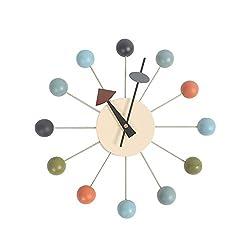 HHYS Multicolor Nelson Ball Clock Wooden Balls Aluminum Holder Atomic Ball Wall Candy Clock F103