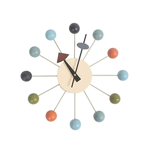 HHYS Multicolor Nelson Ball Clock Wooden Balls Aluminum Holder Atomic Ball Wall Candy Clock F103