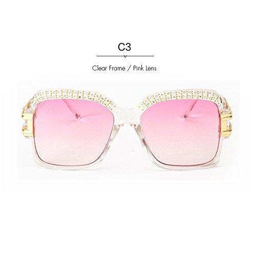 Sonnenbrille Frauen Sonnenbrille C3 C5 Retro Stirn Kristall Platz KLXEB Diseñador 4xwCqn0