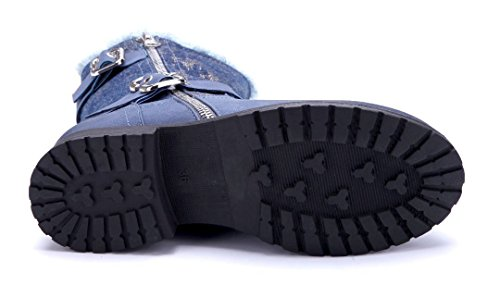 Schuhtempel24 Damen Schuhe Klassische Stiefeletten Stiefel Boots Blockabsatz Schnalle/Reißverschluss/Glitzer 3 cm Blau