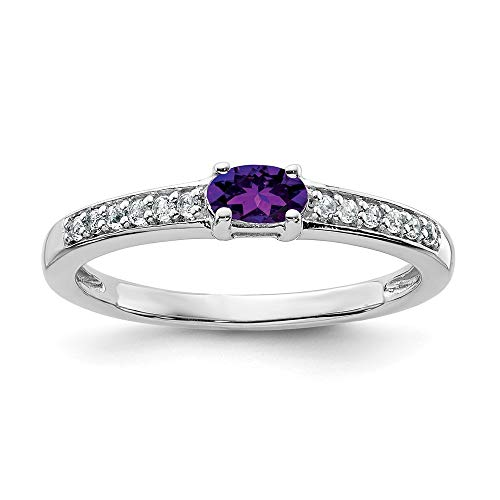 925 Sterling Silver Purple Amethyst White Topaz Band Ring Size 6.00 Gemstone Fine Jewelry Gifts For Women For Her