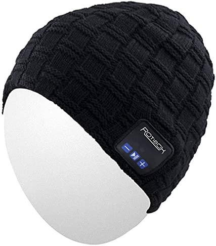 Qshell Wireless Bluetooth Beanie Hat Cap Dual Knit for Men Women with Stereo Headphones Headsets Earphones Speakers Hands-Free Phone Call for Gym Skiing Running Skating Walking, Black