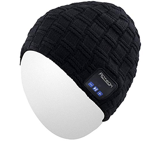 Qshell Wireless Bluetooth Beanie Hat Cap Dual Knit For Men Women with Stereo Headphones Headsets Earphones Speakers Hands-free Phone Call for Gym Skiing Running Skating Walking,Christmas Gifts - Black