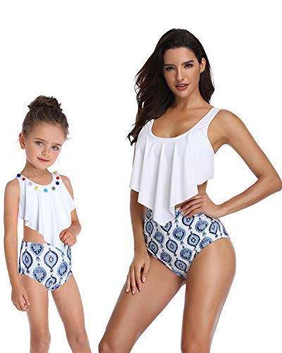 BBYES Mother Daughter Girls Swimsuits Matching 2 Pieces Ruffle Flounce Mommy and Me Swimwear Bathing Suit(White,Mummy-S)]()