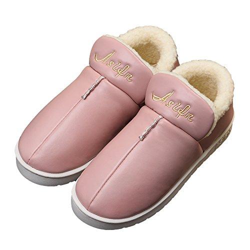 CWAIXXZZ pantoufles en peluche Chaussons en coton dhiver épais femelle étanche anti-dérapant les amateurs de plein air de votre salon. Les personnes âgées plus chaud velours chaussures dhommes sur l
