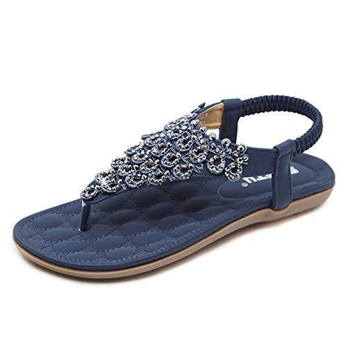 Fnnetiana Women T-Strap Summer Sandals Beach Platform Beads Flip Flops Thong Flat Shoes (US 9.5, Blue) ()
