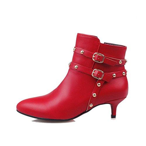 Boots Kitten Heels Zipper Solid Red Women's Low top AmoonyFashion PU qgwH8RxfC