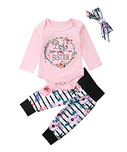(Baby Girls Little Sister Bodysuit Tops Floral Pants Bowknot Headband Outfits Set (9-12 Months, Style 6 Long Sleeve))