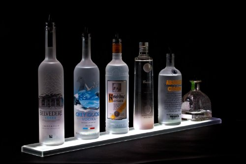 - LED Liquor Shelf and Bottle Display (4 ft length) - Made in the USA - Programmable Shelving Includes Wireless Remote, Wall Mounts, and Power Supply - COMFORTABLY HOLDS 10 - 12 BOTTLES