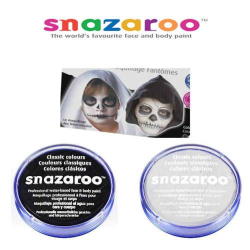 Snazaroo 2 Large 18ml Face Painting Compacts Colors: 1 Black and 1 White - Perfect for Zombies -