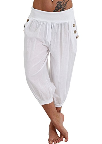 Women's Plus Size Harem Pants Aladdin Linen Loose Harlan Pants with Elastic Waist (White, XL)