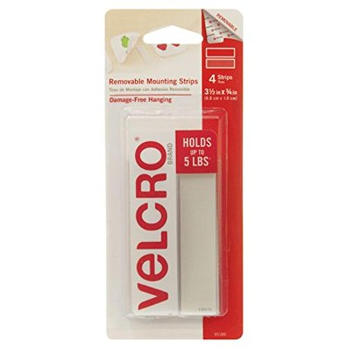 VELCRO Brand - Removable Mounting Strips, Damage-Free Hanging, 3 1/2in x 3/4in Strips, Pack of 4