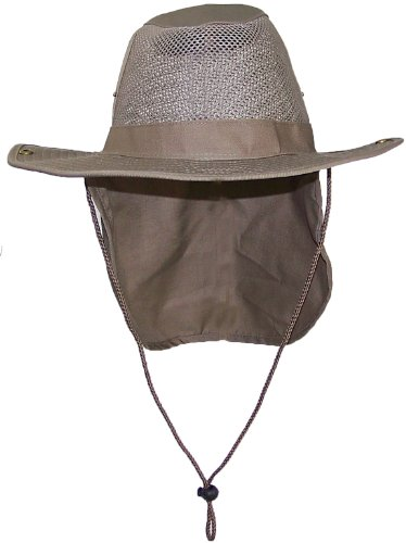 bc7c1a6ae9ffe Tropic Hats Summer Wide Brim Mesh Safari Outback W Neck Flap   Snap Up Sides