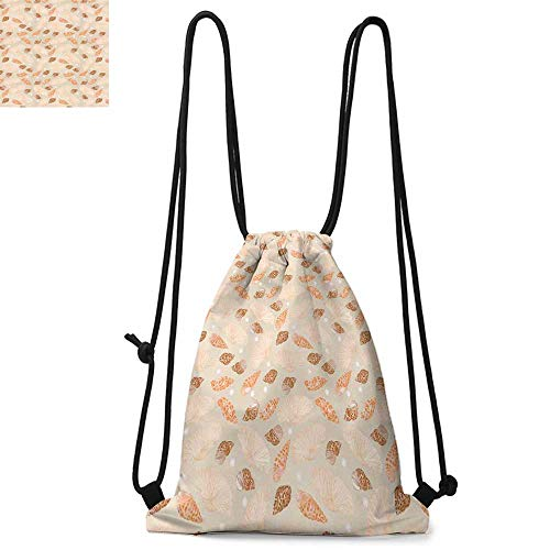 Pearls Decoration Easy to carry drawstring backpac Pattern with Pearls Seashells an Oysters Natural Marine Life Style Decor Beach Theme Durable Drawstring Backpack W13.8 x L17.7 Inch Tan Peach ()