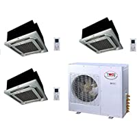 YMGI Tri Zone - 36,000 BTU (12K+12K+12K) Ceiling Mounted Ductless Mini Split Air Conditioner with Heat Pump for Home, Office, Apartment with 25 Ft Lineset installation Kits