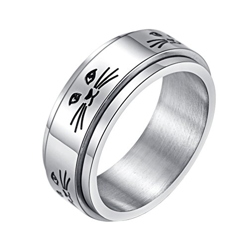 INRENG 8MM Fashion Stainless Steel Cute Kitty Spinner Ring for Men Women Silver Promise Rings Band Cat Face Engraved Size 8