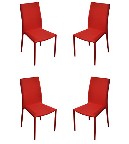 Dining Room Chairs Set of 4, Fabric Chair for Living Room 4 Pieces (Red) by Divano Roma Furniture (Image #4)