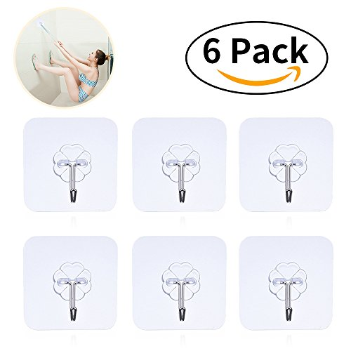 Adhesiv Hooks Heavy Duty Hooks - 6 Packs 22Lbs Dewang Command Hooks Hooks Utility Hooks Heavy Duty Wall Hooks Waterproof Reusable Seamless Sticky Hook For Bathroom Kitchen Wall Door Ceiling And More (Dirt Hook)