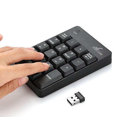 Wireless Numeric Keypad, Vive Comb External Number Pad Portable Numpad With 2.4G Mini USB Receiver for Laptop, Desktop, PC, Notebook-Black by Vive Comb (Image #7)