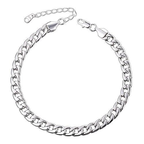 U7 Barefoot Jewelry Cuban Chain Anklet Women/Men Foot Bracelet, 25-30 cm Long -
