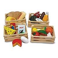 """Grupos de alimentos de Melissa y Doug: juego de madera, juego de imaginación, 21 piezas de madera pintadas a mano y 4 cajas, 12.5 """"Alt. X 8.75"""" An. X 12.5 """"An."""
