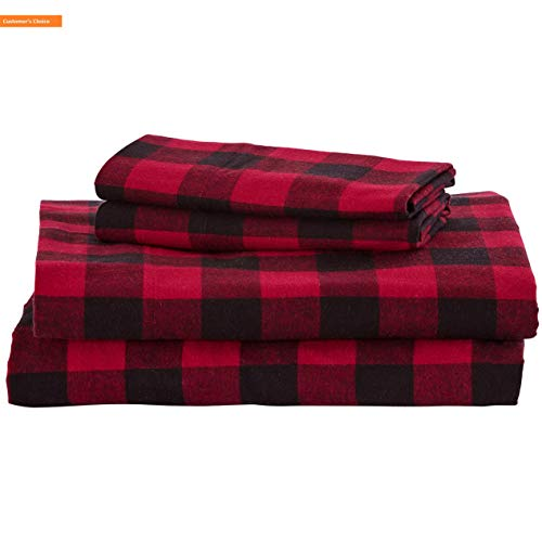 Mikash New Soft Rustic Buffalo Check Soft and Breathable Flannel Yarn-Dyed Sheet Set, King, Red and Black | Style 84597317