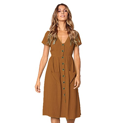 ALAIX Women's Casual Short Sleeve V Neck Button Down Summer Swing Midi Dress with Pockets (Button Down Cotton Skirt)