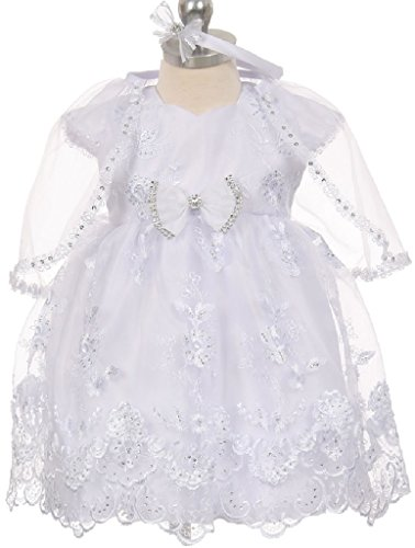 Little Baby Girls Cap Sleeve Baby Doll Christening Baptism Girls Dresses (0T1R4K) White 6M
