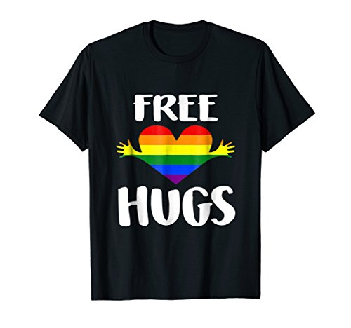 Free Hugs Shirt Gay Pride Rainbow Flag LGBT Heart