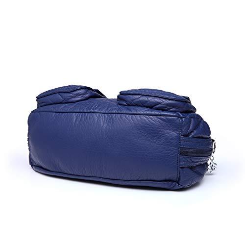 Dos 10 Femmes Main 2 Pour Epaule Bleu Poches Angelkiss à Couche 1593 Sac Sac à Cuir Petites Filles Bandoulière Triple qPxWvFBwa