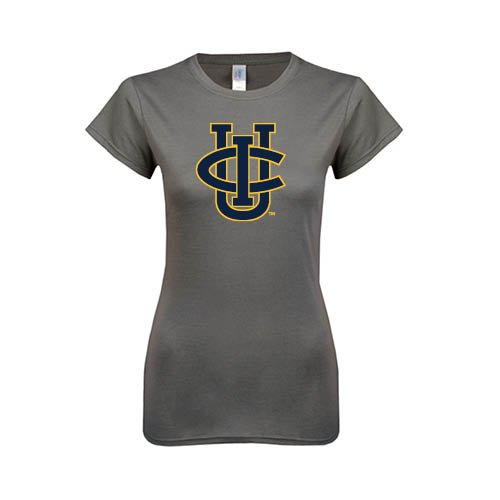 UC Irvine Ladies Softstyle Junior Fitted Charcoal Tee 'Official Logo'