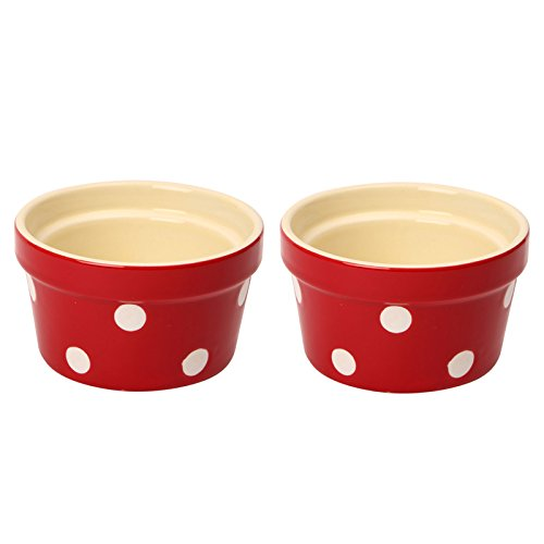 Dexam Set of 2 Polka Dot Ramekins, Claret Red