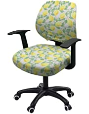 Office Chair Cover Stretchable Computer Desk Chair Seat Covers 2 Piece Waterproof Swivel Chair Protective Slipcover