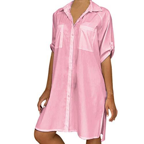 LENXH Women's Shirt Solid Color Dress Short Sleeve Beach Dress Large Size Shirt Casual Skirt Pink