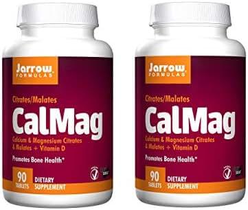 Jarrow Formulas CalMag Calcium Magnesium Citrates and Malates Plus Vitamin D Promotes Bone Health Vegan Dietary Supplement - 90 Tablets (Pack of 2)