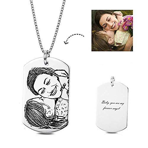 (LONAGO Personalized Photo Necklace Heart Custom Engraved Dog Tag Pendant Christmas Birthday Gifts for Women Men(Rectangle-Sterling Silver, 18))