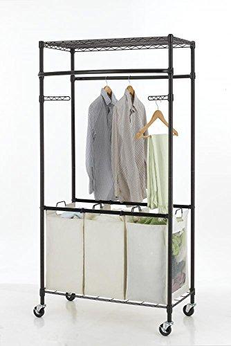 Rolling Clothe Rack Movable Hanger Rail Heavy Storage Shelving (Wine Basket Coupon)