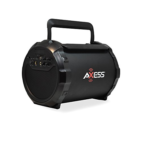 AXESS SPBT1034 Portable Bluetooth Indoor/Outdoor 2.1 Hi-Fi Loud Speaker/Sing Along with Built-In 6 Sub and FM Radio, SD Card, USB, AUX, 6.5mm in Black (Wired Mic. Included)