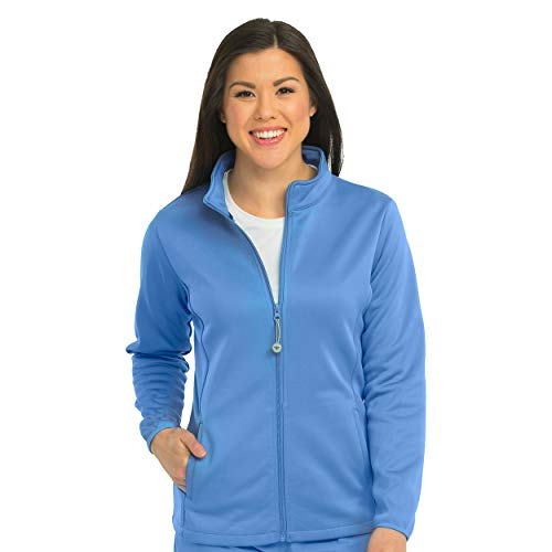Med Couture Zip Front Performance Fleece Scrub Jacket for Women, Ceil, Small