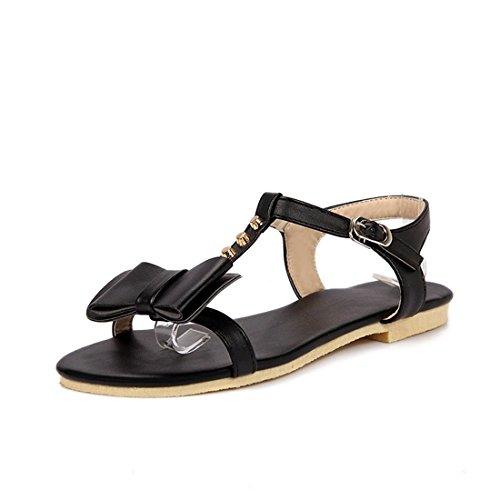 Sandalias Mujer/Sandalia con Pulsera para Mujer/Pajarita Verano Zapatos de Mujer con una Base Plana Estudiantes encantadores Patios Grandes Sandalias Black
