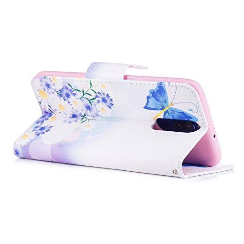 cas Lite Huawei fermeture conception de magnétique butterfly aérosol cuir carte Mate fente avec pour PU en 10 portefeuille étui Blue Flip protection peint Hozor avec d'impression en support aIdwtqI