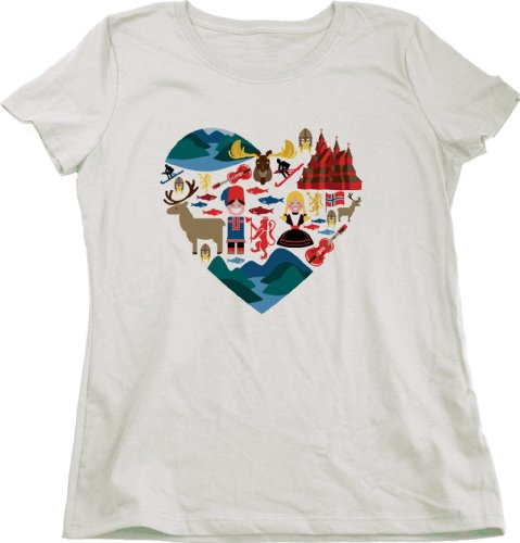 I LOVE NORWAY Ladies Cut T-shirt Cute Norwegian Pride Iconic Fashion Tee